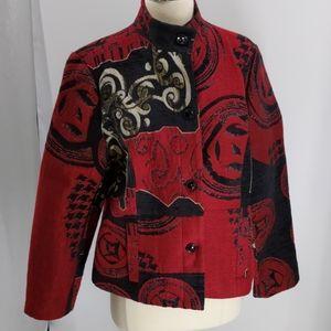 Chico's red/black tapestry jacket-sz 8 (Ch. sz 1)